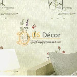 Giấy dán tường vườn hoa màu be và chữ 3D155 dán phòng ngủ