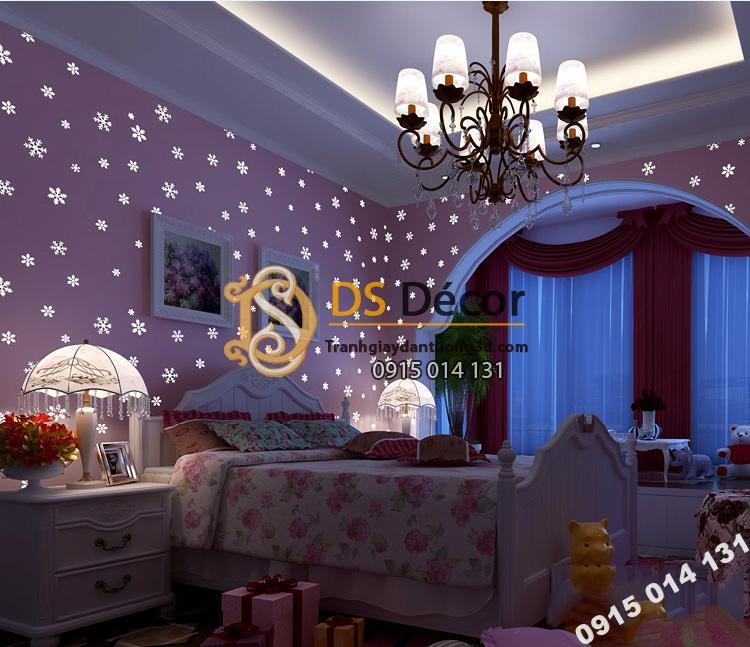 Giấy dán tường dạ quang bông tuyết hồng ban đêm 3D170
