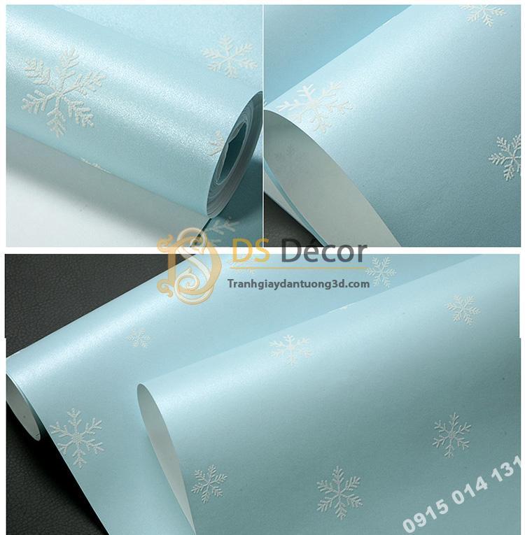 Bề mặt Giấy dán tường dạ quang bông tuyết xanh 3D170
