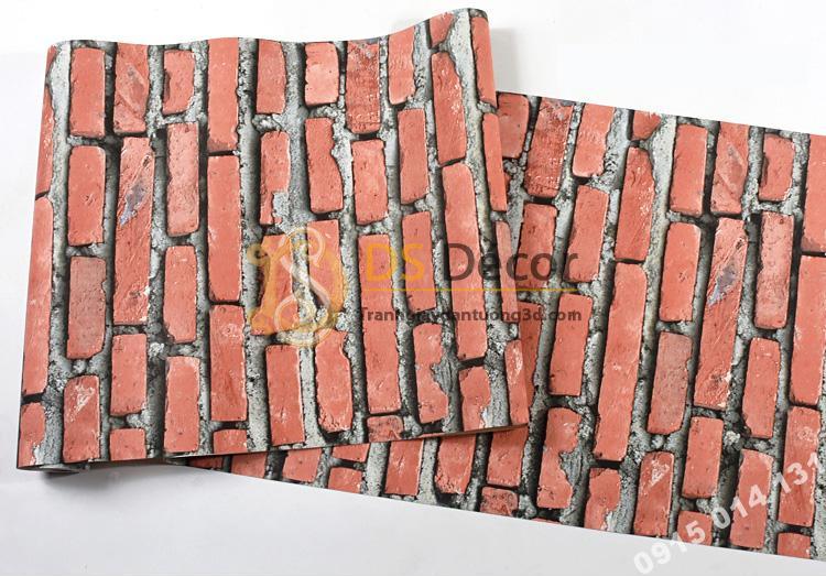 Bề mặt Giấy dán tường giả gạch đỏ 3D188