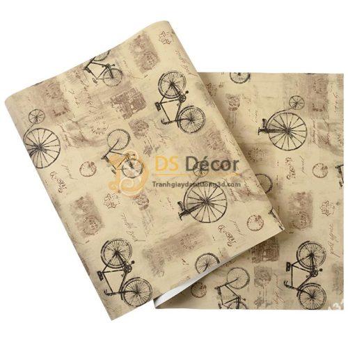 Bề mặt giấy dán tường họa tiết xe đạp 3D172