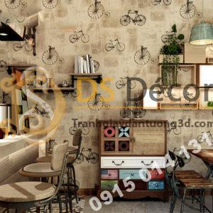 Giấy dán tường họa tiết xe đạp 3D172 trang trí quán bar