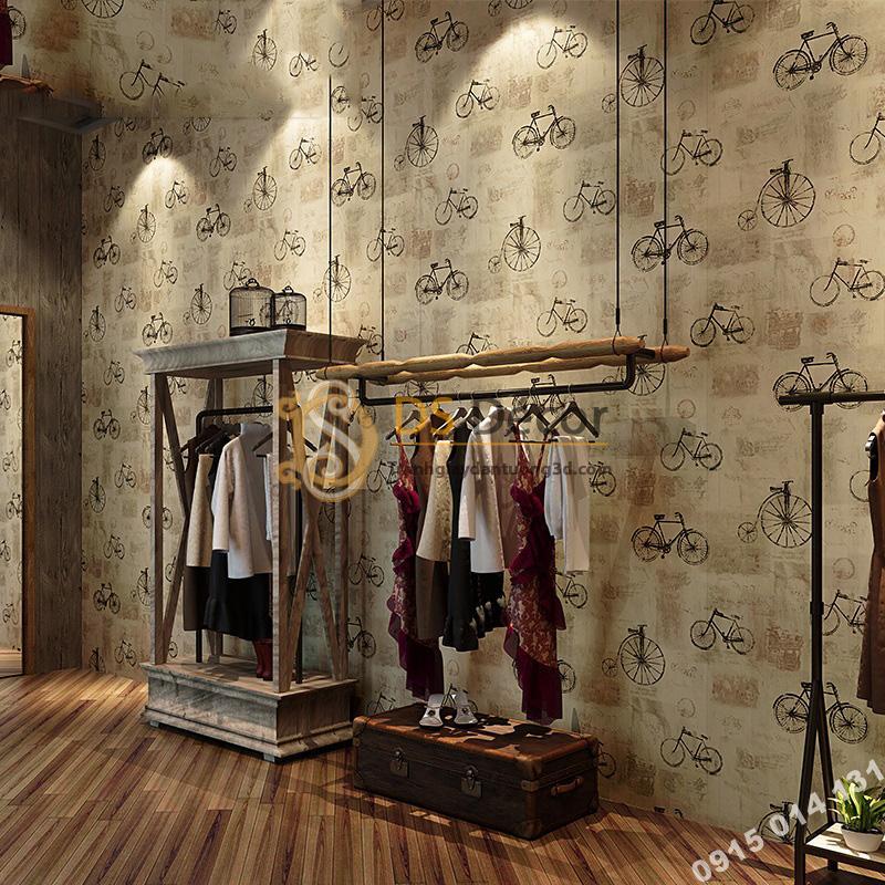 Giấy dán tường họa tiết xe đạp 3D172 trang trí shop thời trang