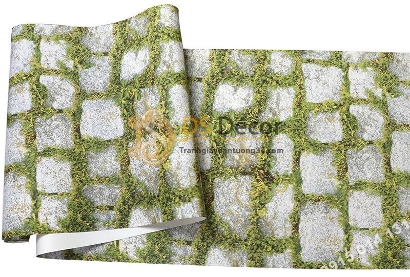 Bề mặt giấy dán tường giả đá xen rêu xanh 3d179
