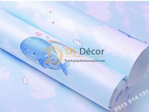 Be-mat-giay-dan-tuong-ca-heo-Dolphin-va-Mây-phong-tre-em-mau-xanh-3d134