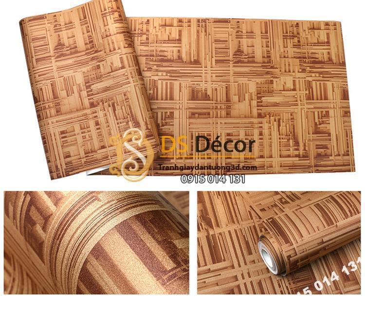 Giấy dán tường thanh sắt đan xen 3D156 màu cà phê