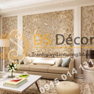 Giấy dán tường lá sen móc hoa 3D150 màu cà phê