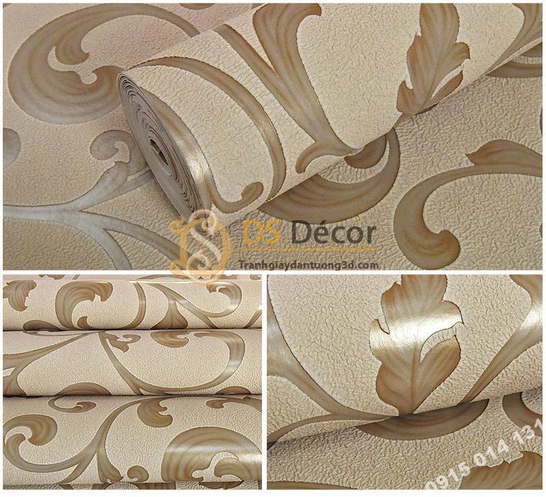 Giấy dán tường lá sen móc hoa 3D150 màu cà phê 2