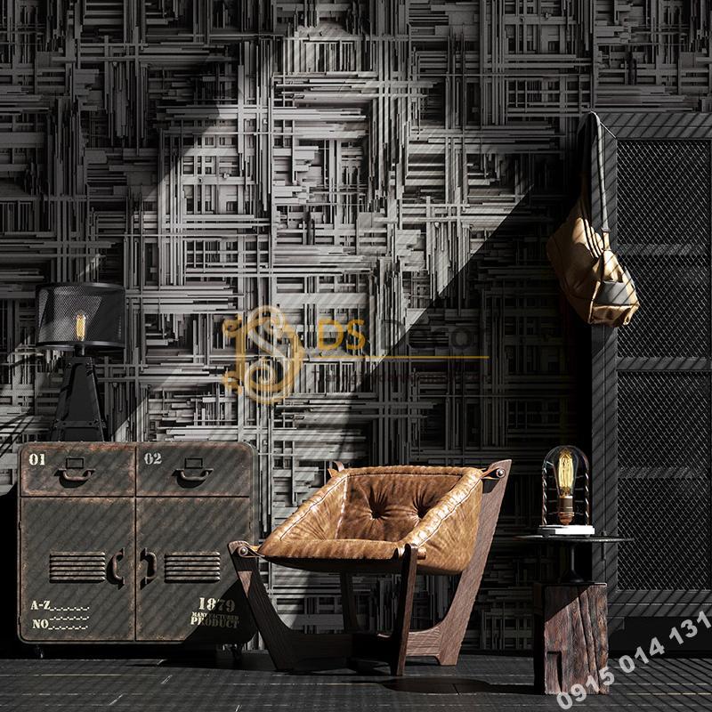 Giấy dán tường thanh sắt đan xen 3D156 màu đen