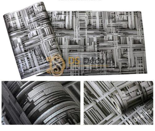 Giấy dán tường thanh sắt đan xen 3D156 màu đen bề mặt