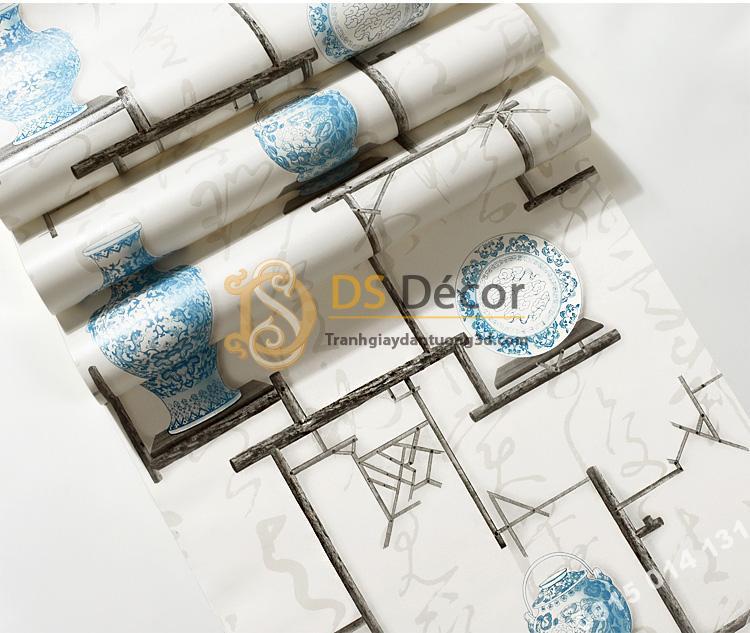 Bề mặt Giấy dán tường bình hoa và đĩa cổ màu xanh 3D76