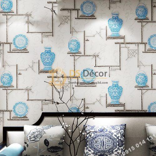 Giấy dán tường bình hoa và đĩa cổ màu xanh 3D76