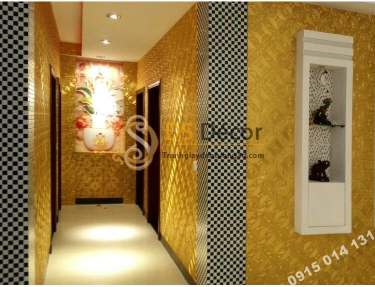 Giấy dán tường hành lang vàng óng 3D113