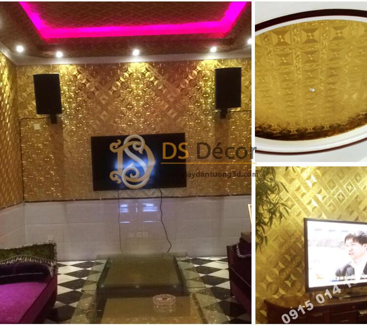 Giấy dán tường quán karaoke vàng 3D113