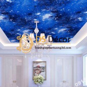 Giấy dán tường trần ngân hà 3D110 màu xanh dương