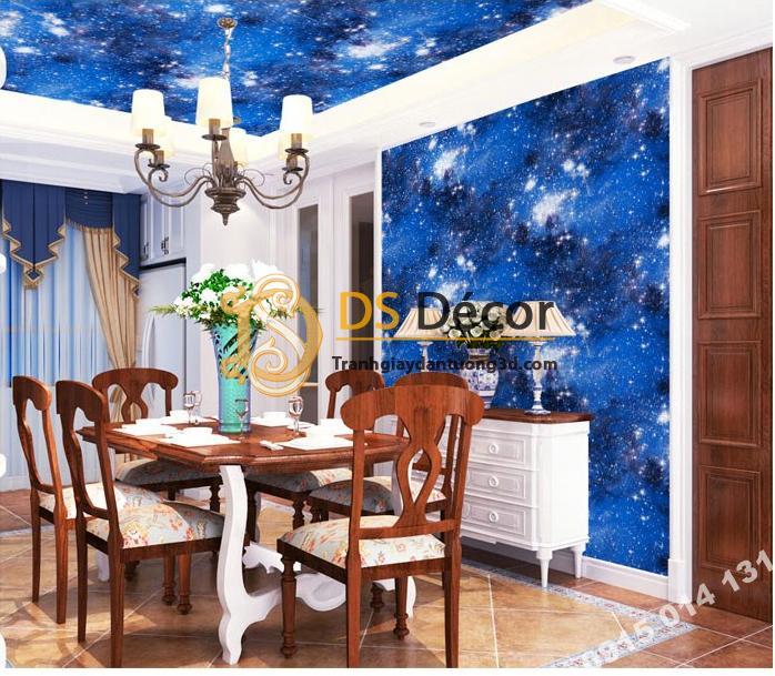 Giấy dán tường trần ngân hà 3D110 xanh dương dán phòng ăn