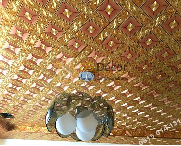 Giấy dán trần vàng óng 3D113 màu vàng hồng