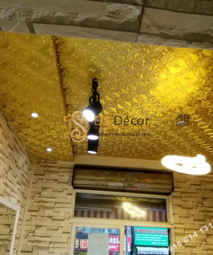 Giấy dán trần vàng óng 3D113