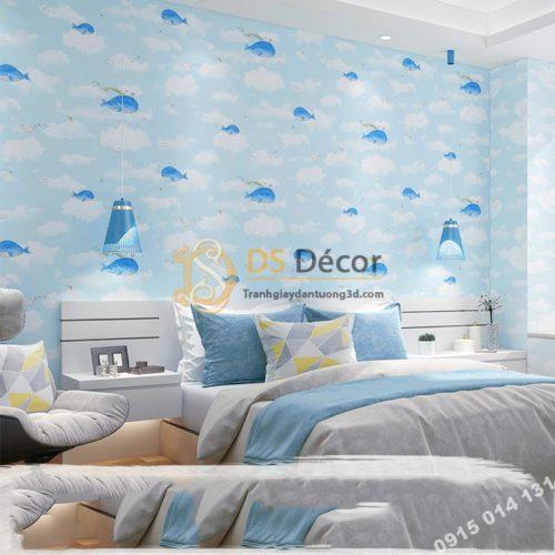 Giay-dan-tuong-ca-heo-Dolphin-va-Mây-phong-tre-em-mau-xanh-3d134