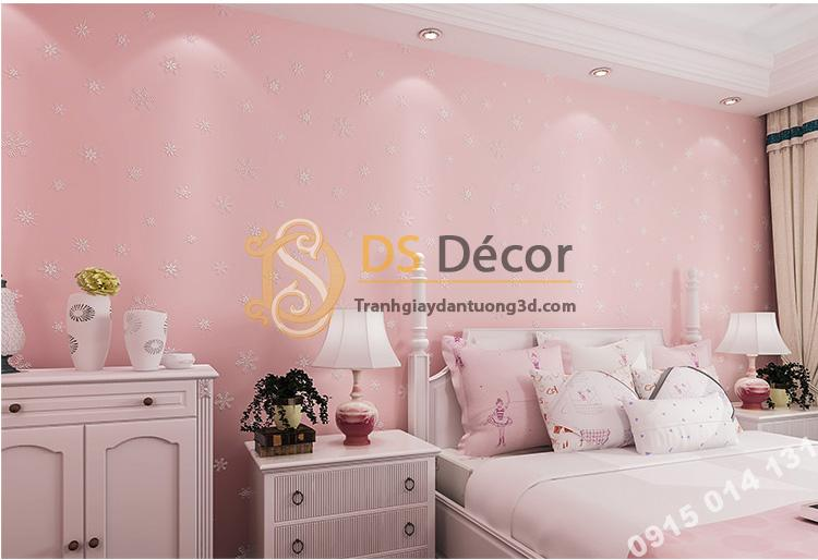 Giấy dán tường dạ quang bông tuyết hồng 3D170