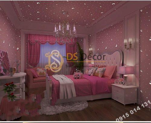 Giấy dán tường dạ quang hồng ban đêm 3D170