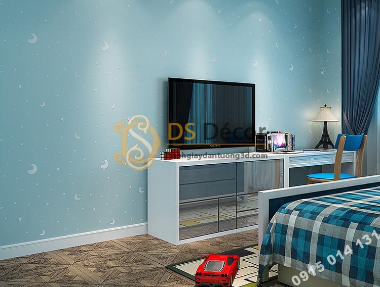Giấy dán tường dạ quang xanh 3D170