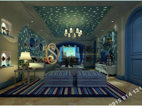 Giấy dán tường dạ quang bông tuyết xanh ban đêm 3D170