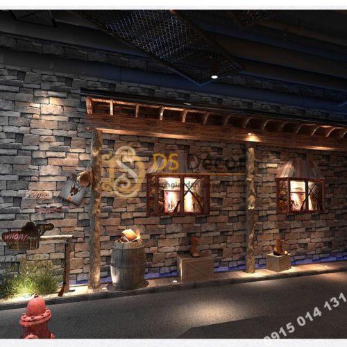 Giấy dán tường giả đá retro cho nhà hàng 3D164 màu nâu xám