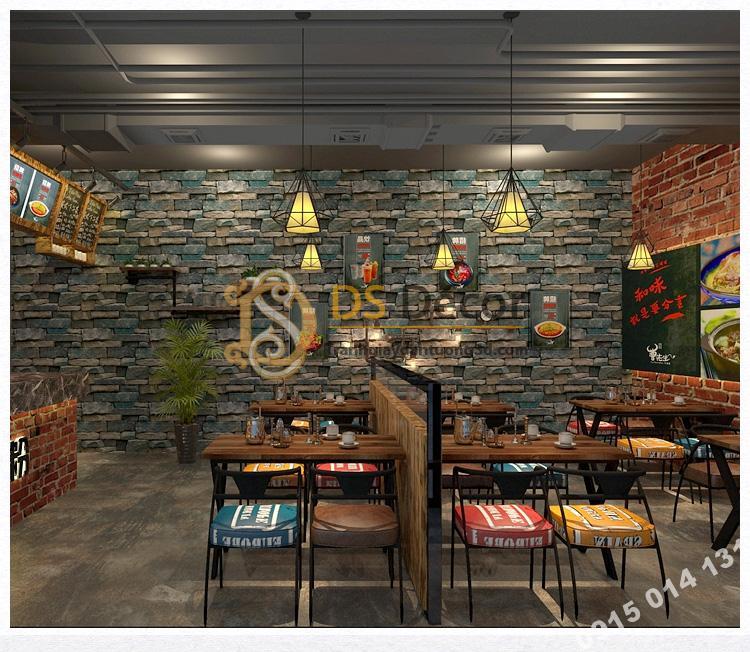 Giấy dán tường giả đá retro cho quàn coffee 3D164 màu xanh