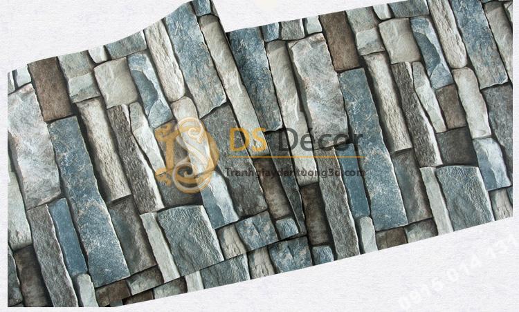 Bề mặt Giấy dán tường giả đá retro cho quàn coffee 3D164 màu xanh