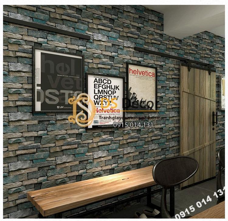 Giấy dán tường giả đá retro cho nhà hàng 3D164 màu xanh