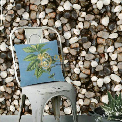 Giấy dán tường giả đá sỏi 3D153 trang trí quán cafe