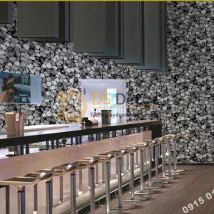 Giấy dán tường giả đá sỏi 3D153 màu trắng trang trí quán rượu, quán coffee