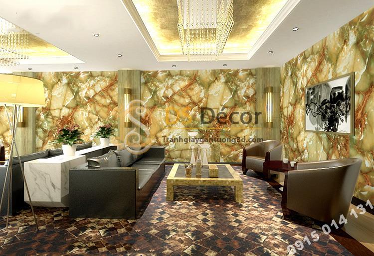 Giấy dán tường giả đá tự nhiên 3D177 trang trí sảnh khách sạn
