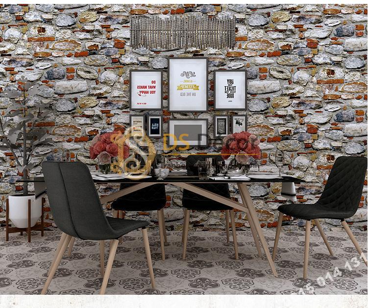 Giấy dán tường giả đá vỡ 3D166 trang trí quán cafe