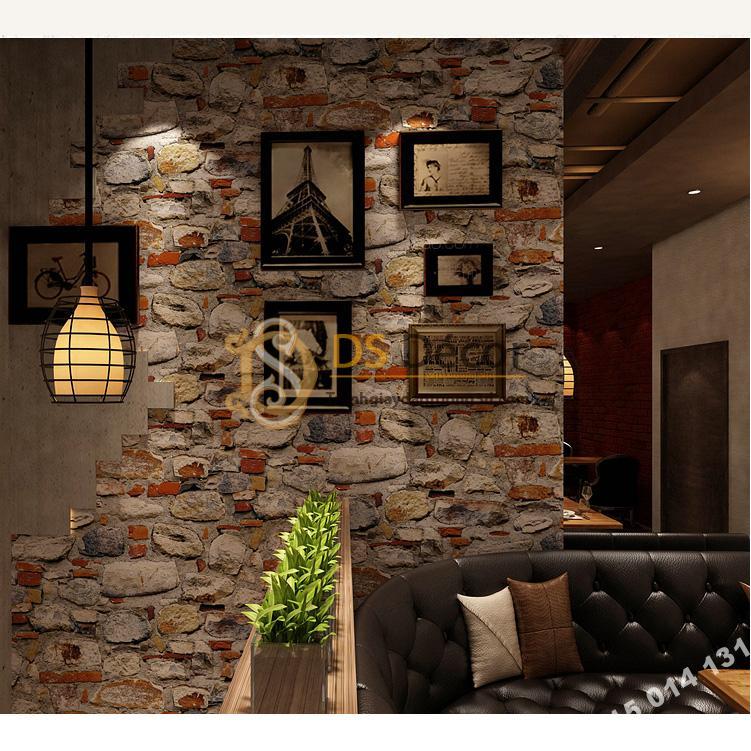 Giấy dán tường giả đá vỡ 3D166 trang trí quán ăn