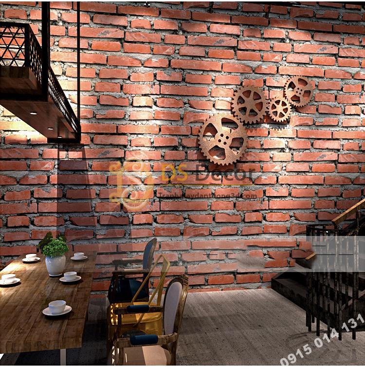 Giấy dán tường giả gạch đỏ 3D188 trang trí quán cafe