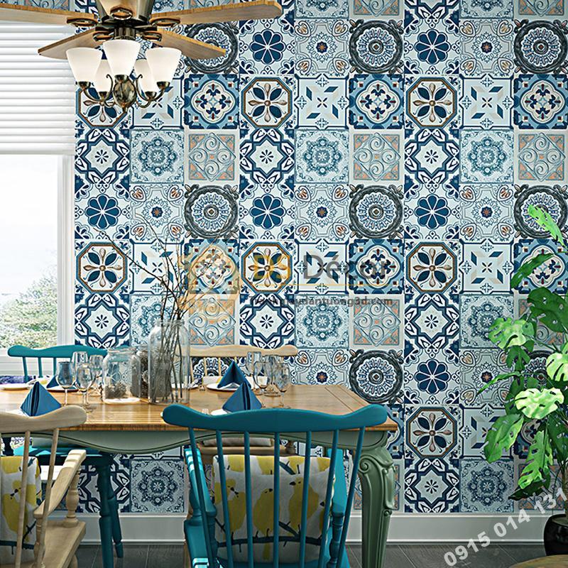 Giấy dán tường giả gạch men phong cách Bohemian 3D180 trang trí nhà bếp