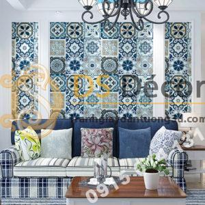 Giấy dán tường giả gạch men phong cách Bohemian 3D180 trang trí phòng khách