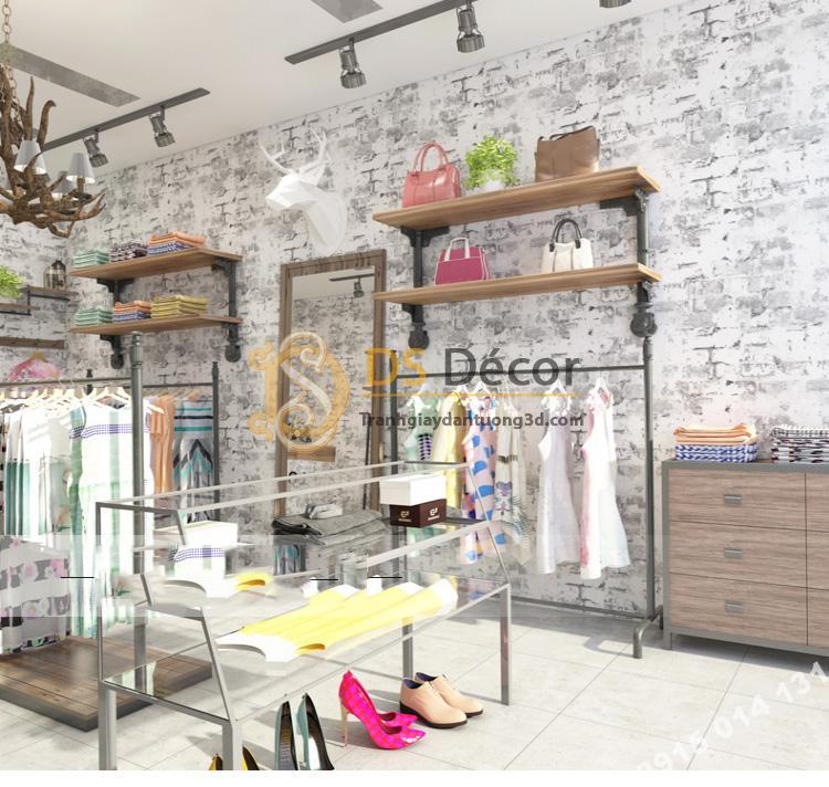 Giấy dán tường giả gạch xám xi măng trang trí shop thời trang 3D131