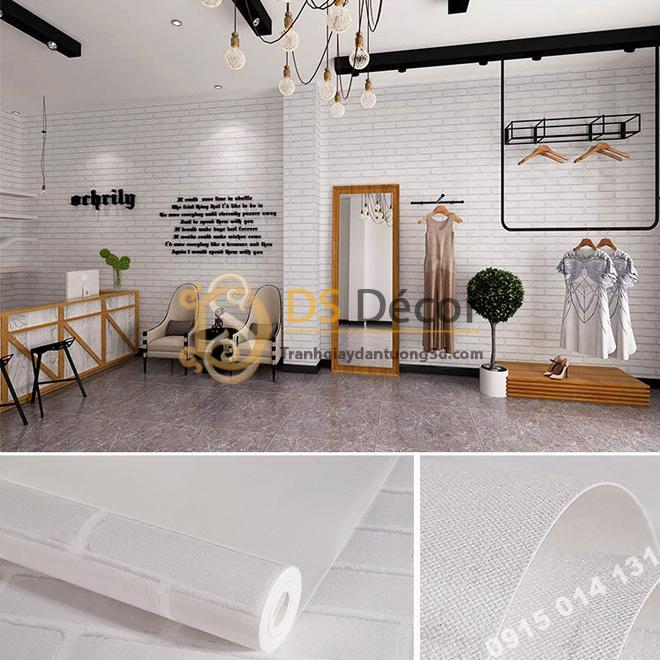 Giấy dán tường gạch trắng gạo 3D099 cho shop quần áo
