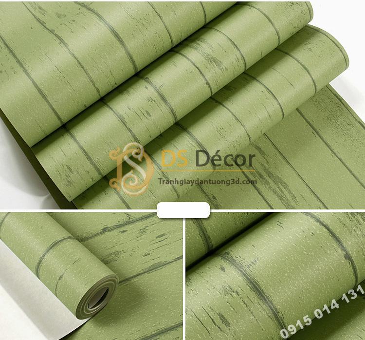 Giấy dán tường giả gỗ xanh lúc 3D181 màu nhạt