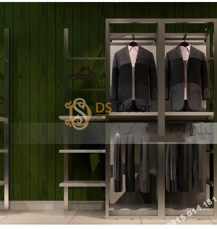 Giấy dán tường giả gỗ xanh lúc 3D181 màu đậm trang trí shop thời trang nam
