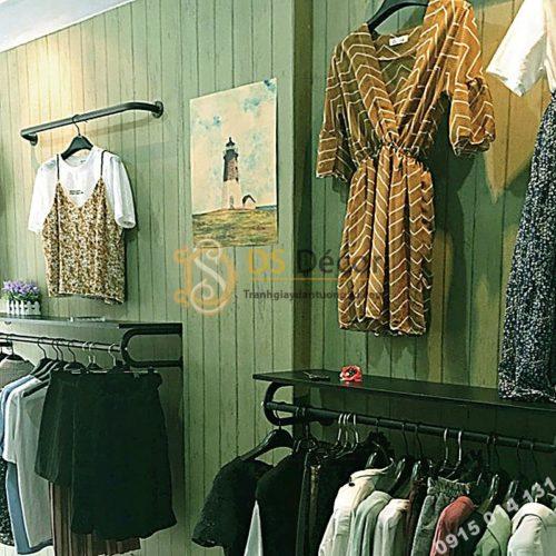 Giấy dán tường giả gỗ xanh lúc 3D181 trang trí shop quần áo