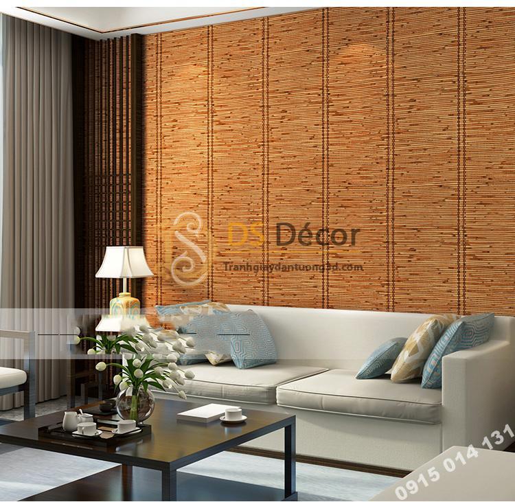 Giấy dán tường giả mành tre xưa 3d162 trang trí phòng khách
