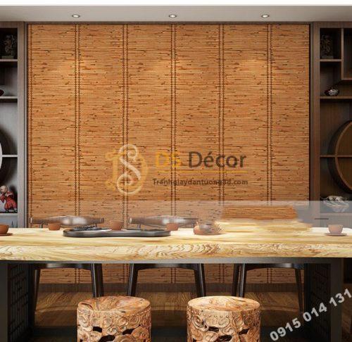 Giấy dán tường giả mành tre xưa 3d162 trang trí quán ăn