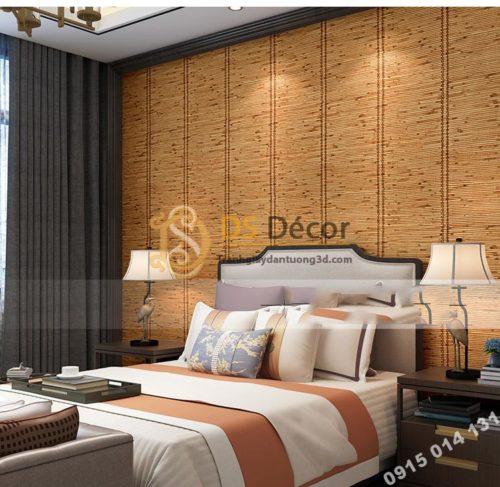 Giấy dán tường giả mành tre xưa 3d162 trang trí phòng ngủ