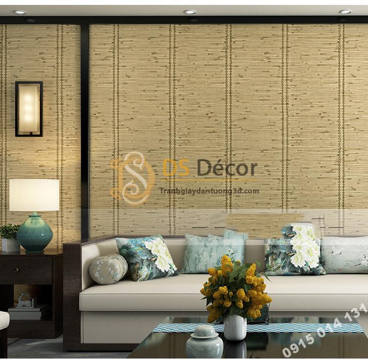 Giấy dán tường giả mành tre xưa 3d162 màu nhạt trang trí phòng khách