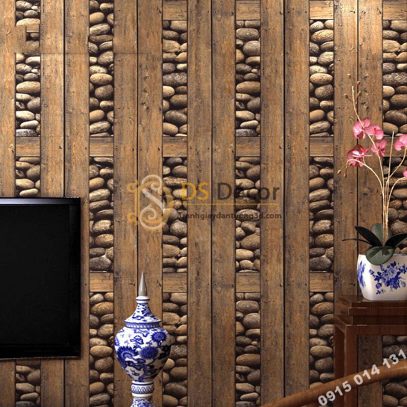 Giấy dán tường gỗ và đá 3D169 trang trí quán trà cổ