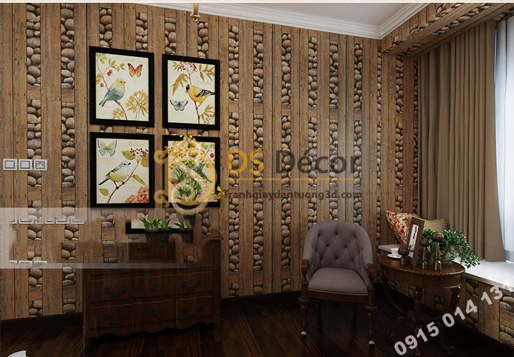 Giấy dán tường gỗ và đá 3D169 trang trí phòng ngủ